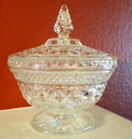 Brilliant Cut Heavy Cut Glass Candy Dish With Lid Diamond Cut Clear Mid Century