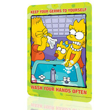 """Metal Tin Sign The Simpsons """"Keep Your Germs"""" Security Collection 5 Decor Wall"""