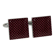 Burgundy Red Carbon Fiber Style Cufflinks Gift Boxed Racing Car Graphite Fibre