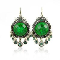 Vintage Jewelry / Jewellery Rhinestone Dark Green Long Drop Dangle Earrings VE2