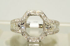 $13,590 2.06Ct Princess & Round Cut Diamond Ring Mounting 18K Gold