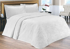 Luxury Cotton Double Bedspread Throw - Cream or White - 3 Designs