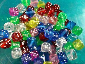 50 Dice Beads Acrylic Cube Wholesale BULK Assorted Lot
