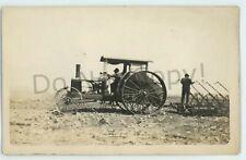 RPPC Steam Gas Engine Tractor Plow Farming Rural Americana Real Photo Postcard 2