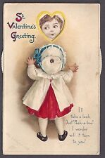 "MECHANICAL c.1910 Signed Clapsaddle ""St. Valentines Greeting"" Girl  #16190"