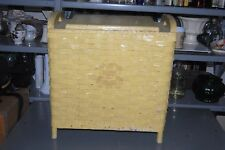 Vintage Yellow Wooden Wicker Rattan Laundry Clothes Hamper Shabby Basket