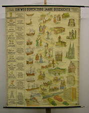 School Wall Map Nice Old Two Thousand Years of History building styles 101x136cm...