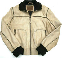 Womens Pepe Jeans Leather Jacket Beige Lined Rare Bomber Size L LOOKS NEW