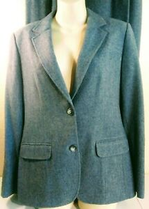 Vtg women's Pendleton suit gray Blazer & skirt pure virgin wool jacket Sz 12 USA