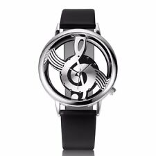 Fashion Men Women Watches Wristwatch Quartz Watch Note Music Notation PU Leather