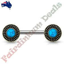 Nipple Barbell With Antique Gold Tribal Shield Ends Turquoise Centre