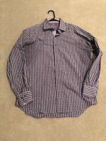 Lorenzo Uomo Purple Checkered Trim Fit Dress Shirt Size 16.5 34/35 PERFECT COND!