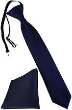 TigerTie Security Sicherheits Krawatte + Einstecktuch dunkelblau Uni einfarbig