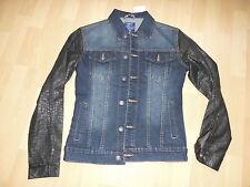 Adrexx Jeans Jacke blau schwarz Leder Optik Ärmel, Animal Prägung, S M 38 40