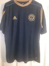 MLS Philadelphia Union Adidas Climalite Polo Shirt Jersey Soccer Blue Size L