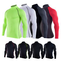 Men's Compression Shirts BaseLayer Tights Mock Long Sleeve Workout Running Tops