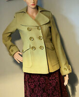 Next Womens Double Breasted Lined Jacket Coat U.K. Size 6 P Lime Green Exc Cond