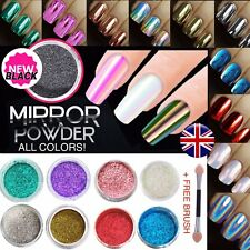 ROSE GOLD MIRROR CHROME POWDER COLOURS NO WIPE TOP COAT  EFFECT PIGMENT NAILS