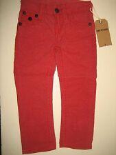 NEW True Religion Jeans Kids Boys Geno Big T Red Corduroy Relax Slim Pants US 3