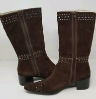 Newport News Brown Suede Studded Boots -Womens Size 9