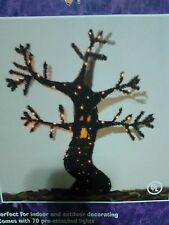 Halloween 48 Inch Tinsel Spooky Tree 70 Pre-Attached Lights New In The Box