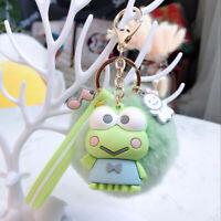 Cute 3D Kerokerokeroppi Keychain Key Chain Pom Pom Fur Ball Keyring Pendant Gift
