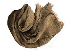 Leinen Schal mit Fransen aus 100% gewaschenem  Leinen (48 x 170 cm) braun/grau