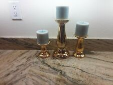 Set Of 3 Gold Pillar Candle Holders