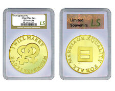 Same Sex Marriage Coin Gay Female Lesbian 1 oz Proof Gold layered Silver, Slab