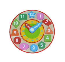Wooden Baby Kids Digital Puzzle Clock Children Toy Early Educational Toys