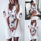 Women Floral Embroidered Long Sleeve Shirt Blouse Casual Top AU