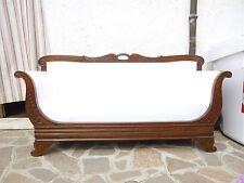 Divano divanetto in Noce a barca Impero Carlo X primo '800 Restaurato Intagliato