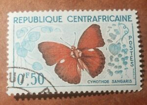 GM53 Butterfly Republique Centrafricaine F0.50 CANCELLATION NEVER HINGED STAMP
