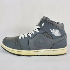 Nike Air Jordan 1 Mid Mens Sz 10 Cool Gray Basketball Shoes 554724-022
