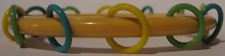 RARE VINTAGE BAKELITE WITH MULTI-COLOR CELLULOID LOOPS BANGLE BRACELET