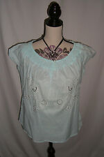 TU Petite Light Blue Blouse Shirt Top Size 14 Sequinned Paisley Design BNWT