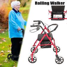 Medical Rollator Fold Up Rolling Senior Walker  For Elder with Padded Seat Red
