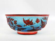 VINTAGE CHINESE PEKING GLASS MINI BLUE BOWL W/ RED OVERLAY OF BIRDS & FLORAL