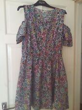 Peacocks floral cold shoulder elasticated waist summer dress size 14 16