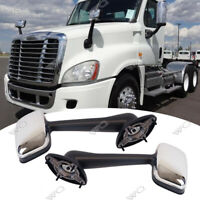 For Freightliner Cascadia 2008-2016 LH+RH Side Hood Chrome Mirrors Manual Pair