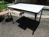 Antique 1950s by Geer Kitchen Dining Enamel Porcelain Top Work Table Desk Drawer