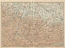 Carta geografica antica APPENNINO PIACENTINO Piacenza 1916 Old antique map