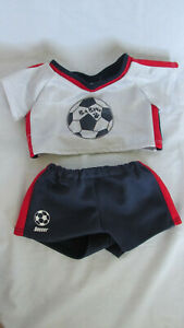 Used Build-a-Bear Accessories Clothes Doll Bear Soccer Uniform Red White Blue