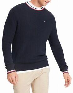 Tommy Hilfiger Mens Sweater Navy Blue Size 2XL Crewneck Striped-Trim $89 #193
