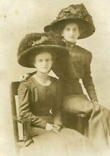 RPPC TWO LADIES WOMEN w FABULOUS FEATHER HATS - ANTIQUE REAL PHOTO POSTCARD