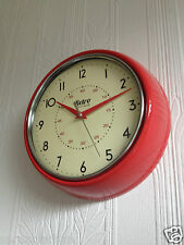 RETRO VINTAGE SHABBY ROUND WALL CLOCK OFFICE KITCHEN CLOCK RED BLACK CREAM