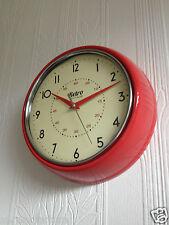 RETRO VINTAGE SHABBY ROUND WALL CLOCK OFFICE KITCHEN CLOCK RED BLACK CREAM