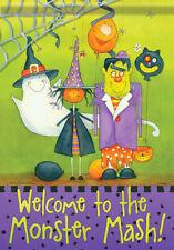 """New listing House Flag Premium Artwork Happy Halloween Fall 28"""" x 40"""" Garden Monster Mash"""
