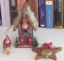 Pam Schifferl Folk Art Santa set- house, on polar bear, star ornament Midwest Ca