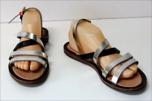 Paul Smith Gladiator Sandals all Leather Silver And Black T 40, Vgc ,